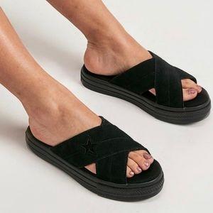 Converse One Star Sandal Slip Suede Black NWB